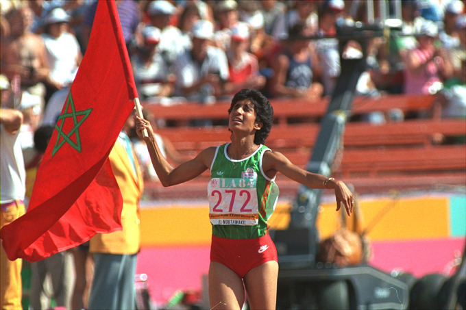 Nawal El Moutawakel, first female Muslim born on the continent of Africa to become an Olympic champion