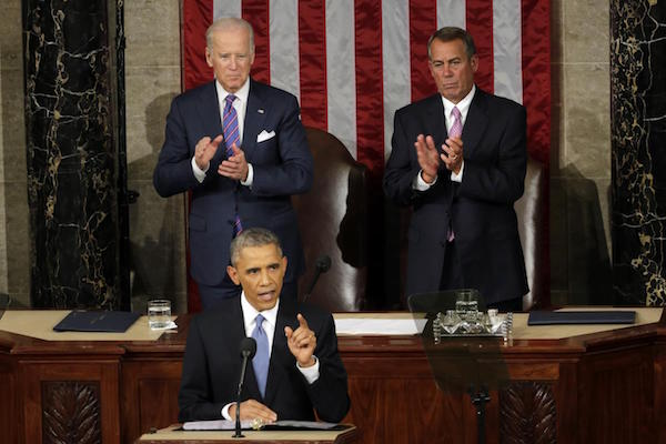 President Barack Obama delivers the 2015 State of the Union address.