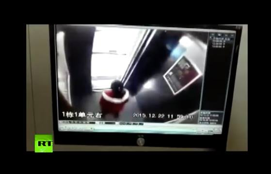 Video: Lucky girl escapes falling ceiling in elevator in China