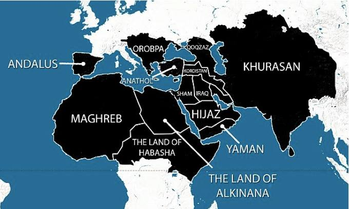 Map of part of the world, according to ISIS