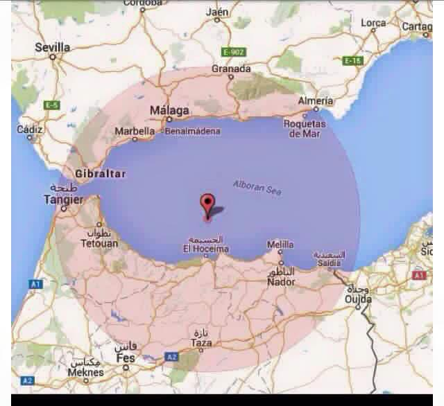 Map showing the location of the earthquake that hit Morocco and southern Spain