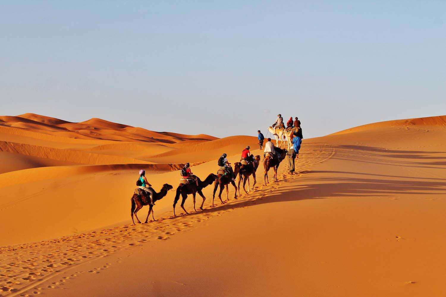 A camel trek in the desert is a highlight of a round trip in Morocco for most of the Central European visitors