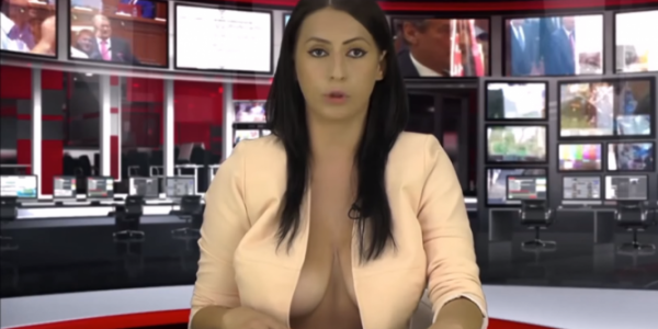 image Weather girl strips down completely on tv