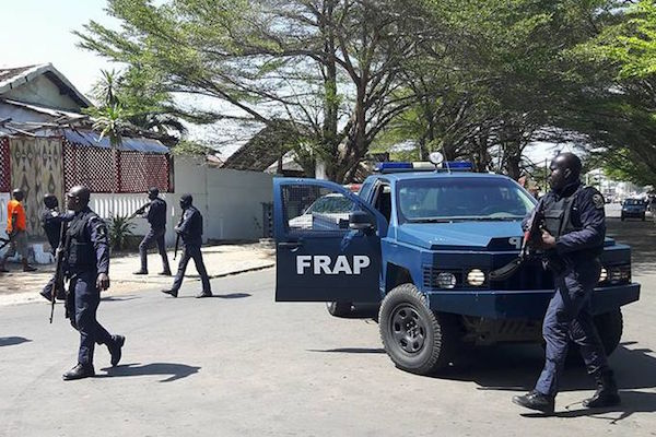 A photo taken by a witness at the scene shows Ivorian security forces gathered in front of a hotel in the beach resort of Grand-Bassam.