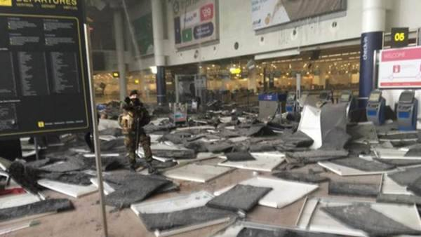 Damage caused by two explosions in Brussels airport