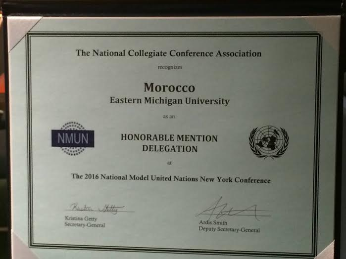 Eastern Michigan University represented Morocco at the Model UN conference