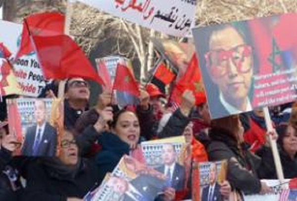 Moroccans in Britain Protest Ban Ki-moon in front of British Parliament