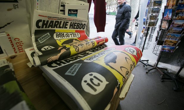 'Charlie Hebdo's editorial gives credence and sanction to the view that there is no such thing as an innocent Muslim.' Photograph: Marc Piasecki/Getty Images
