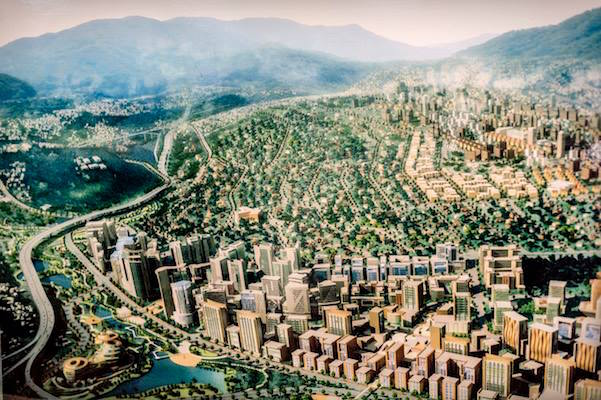 A model of the future Kigali City. An ambitious Kigali development master plan aims to turn the city into the 'Singapore of Africa'. Photo: Panos/Sven Torfinn