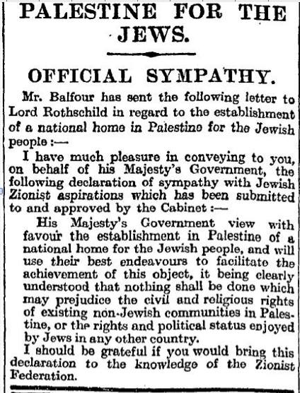 Balfour Declaration as published in The Times, 9 November 1917