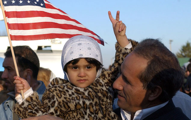 Ebrahim with his granddaughter Zrahaa Mohammed at a park in Dearborn, Michigan, April 9, 2003. (Reuters / Rebecca Cook)