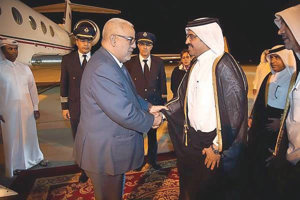 Head of Government Abdelilah Benkirane and president of Qatar's Council of Ministers and Interior Minister Sheikh Abdullah Bin Nasser Bin Khalifa Al Thani