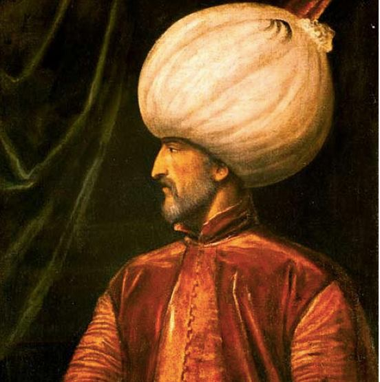 Rare painting of the Italian painter Tiziano Vecellio showing the Ottoman Turkish Sultan Suleiman the Magnificent (Reign 1520-1566)