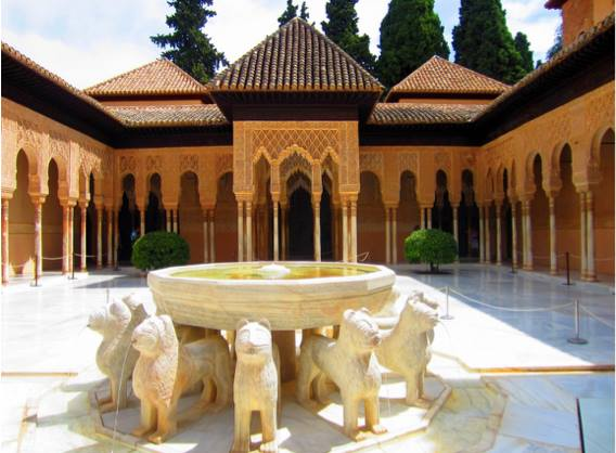 The Court of the Lions at Alhambra Palace in Grenada, Spain