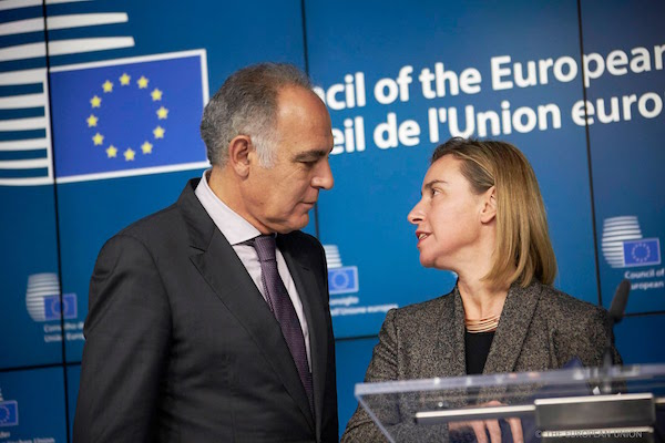 the High Representative of the European Union for Foreign Affairs and Security Policy Federica Mogherini and Salaheddine Mezouare