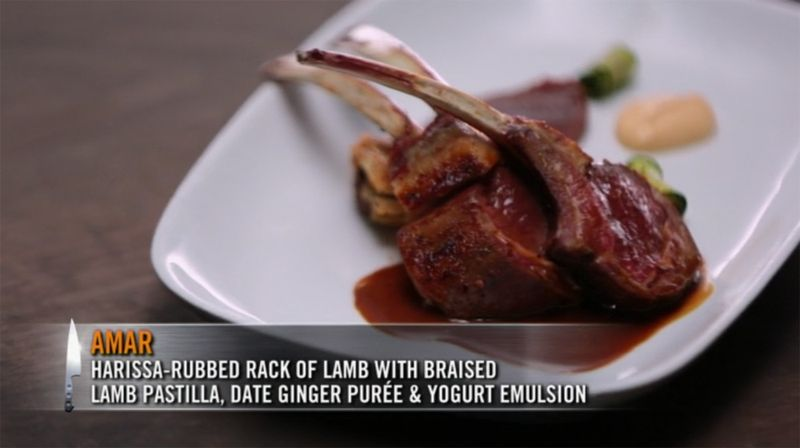 Harissa-Rubbed Rack of Lam with Braised Lamb Pastilla, Date Ginger Puree and Yogurt Emulsion