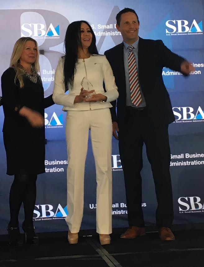 Moroccan businesswoman Sophia Leaguedi receiving Business Exporter of the Year Award