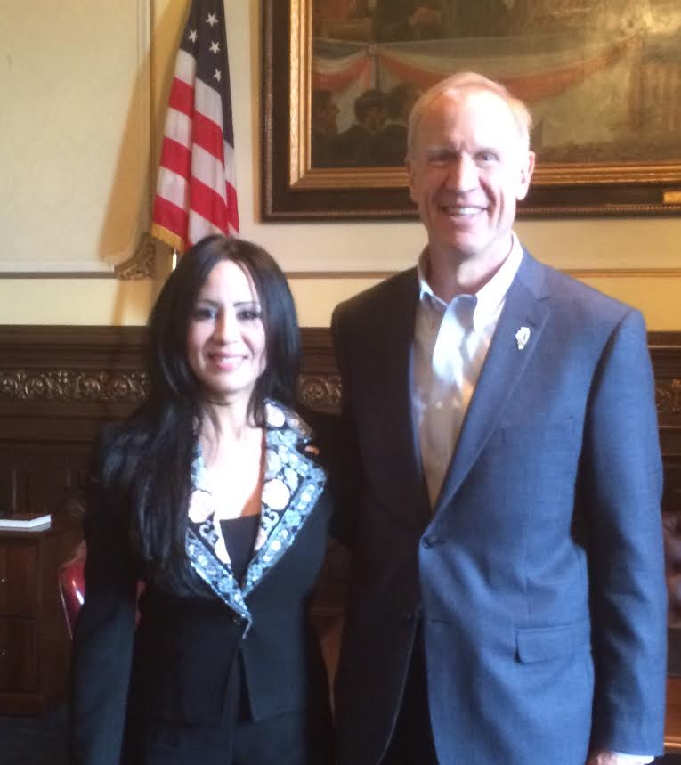 Moroccan businesswoman Sophia Leaguedi with Illinois Governor Bruce Rauner