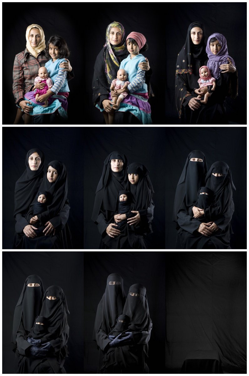 Almutawakel's Hijab series includes pieces that show progressively veiled women in different frames and the Fulla