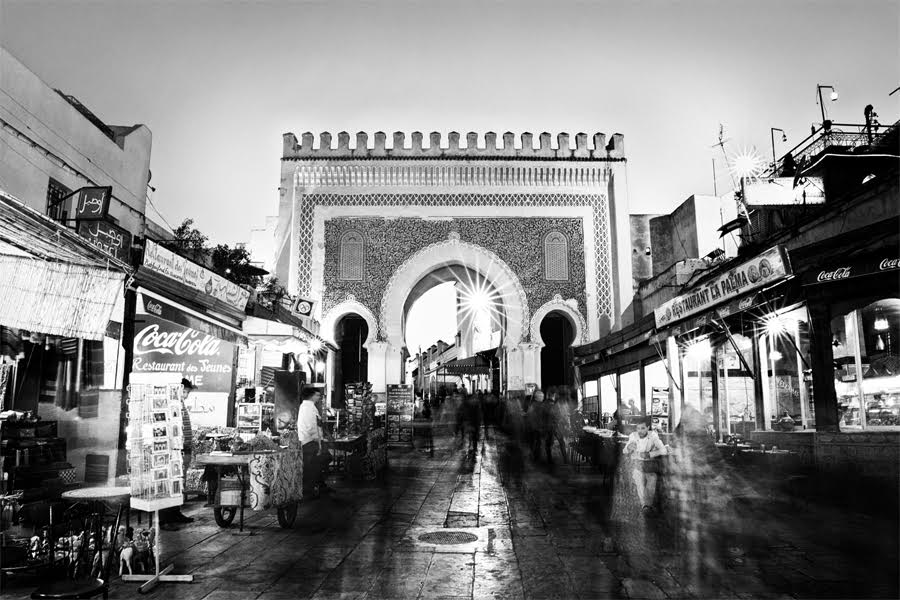 German Photographer Captures Beauty of Fez in Black and White by German photographer Victoria Knobloch. Gate of Boujloud in Fez