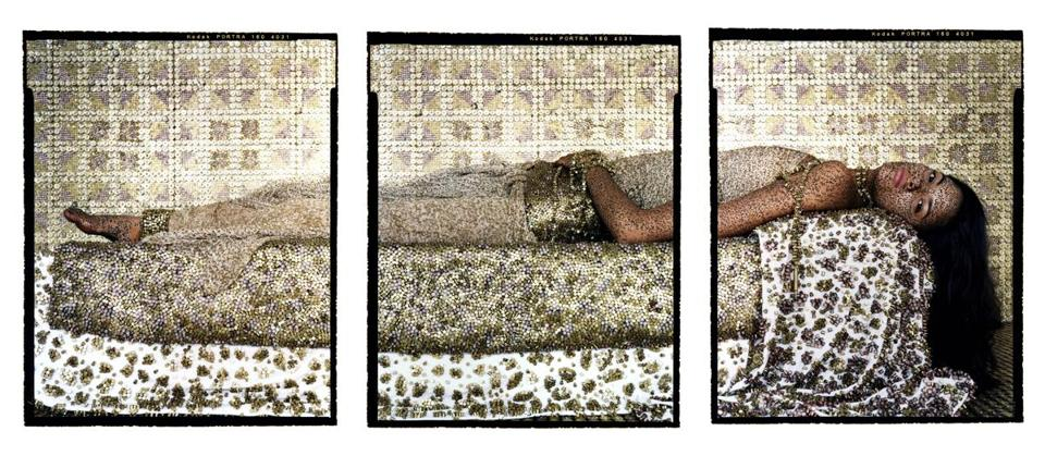"Lalla Essaydi's triptych ""Bullets Revisited #3"""