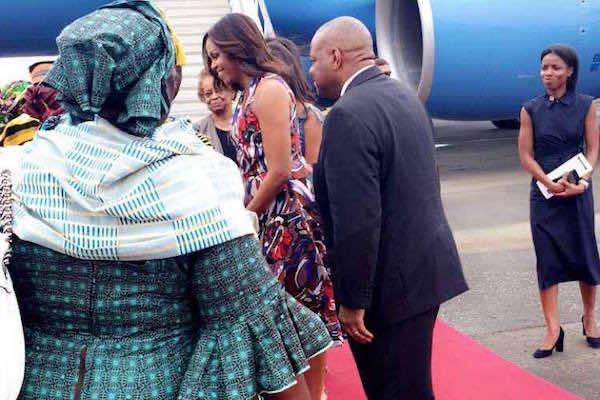 Mrs. Obama arriving in Liberia