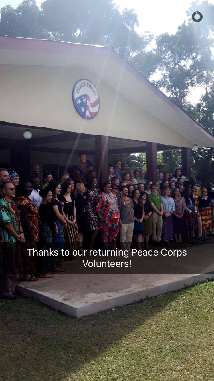 Mrs. Obama meeting Liberian Peace Corps Volunteers