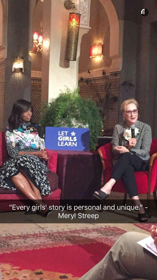 Mrs. Obama speaks with girls from around Marrakesh in a panel with Meryl Streep and Freida Pinto.