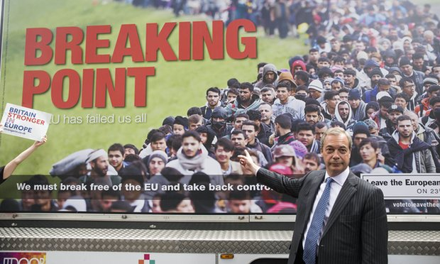 Nigel Farage with the poster. Photograph: Mark Thomas/Rex/Shutterstock