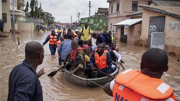 Rescue workers from Ghana's emergency services were called in to help as floods hit the capital city,