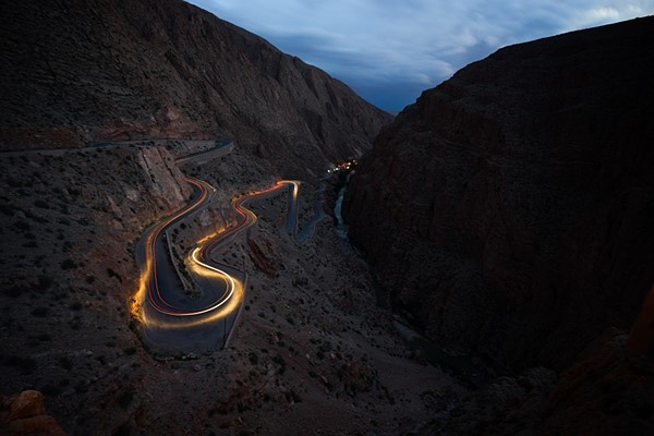 Windy road of Moroccan tisdrin in Msemrir at night