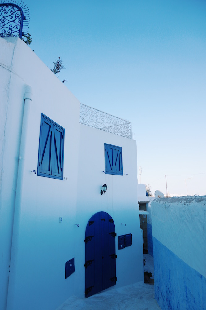 the beautiful pastel blue and white streets of the Oudaia