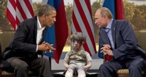Omran Daqneesh With Obama and Vladimir Putin