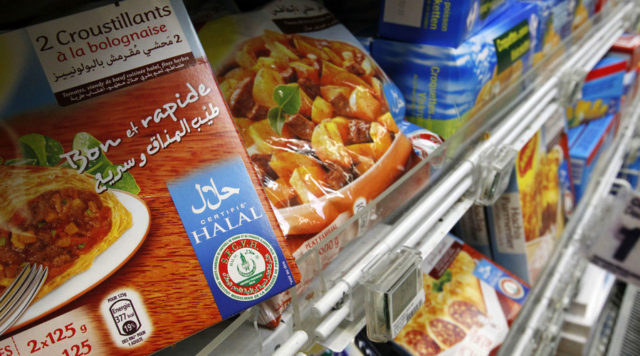 Packages of Halal food are displayed in a supermarket in Nantes, western France