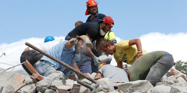 Rescuers work following an earthquake in Amatrice, central Italy August 24, 2016. Picture taken August 24, 2016.