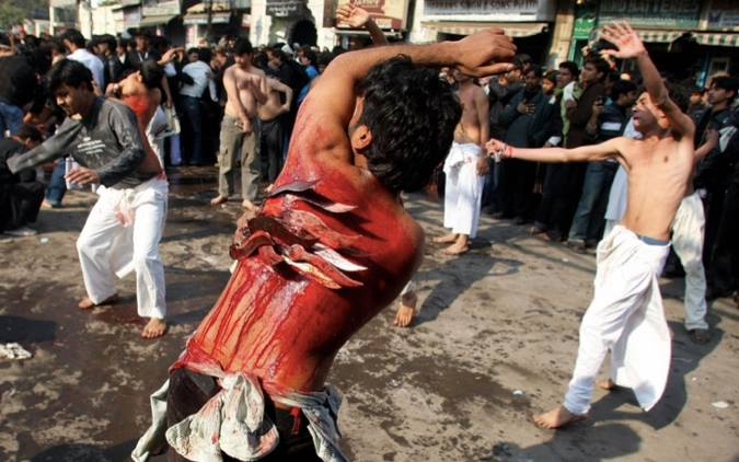 Indian Shiites flagellating themselves in Ashura