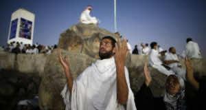 Muslim pilgrims join one of the hajj rituals on Mount Arafat near Makkah early on September 11, 2016. (AFP)