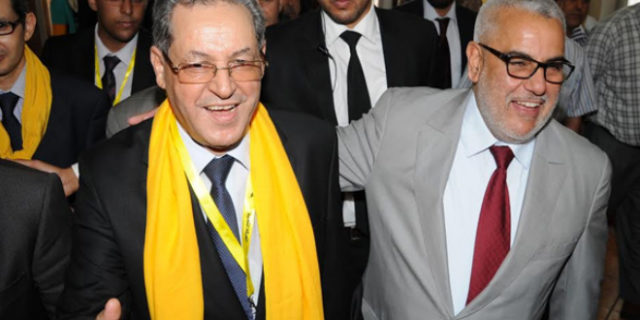 Abdelilah Benkirane along with the head of the popular movement Mohand Laenser