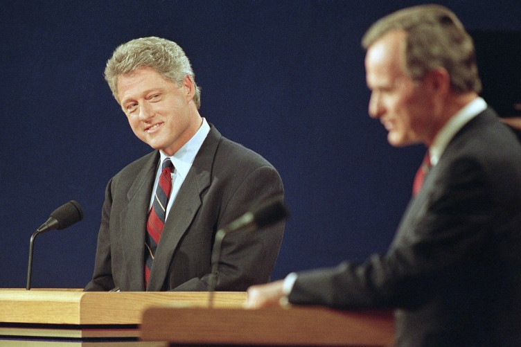 Bill Clinton as he successfully campaigned to unseat President George H. W. Bush