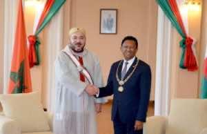 King Mohammed VI with president of Madagascar President Hery Rajaonarimamapianina