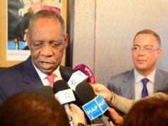 president of the Confederation of African Football (CAF), Cameroon's Issa Hayatou, with the president of Royal Moroccan Football Federation (FRMF)
