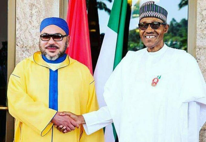 King Mohammed VI and president of the Federal Republic of Nigeria, Muhammadu Buhari