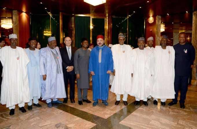King Mohammed VI and president of the Federal Republic of Nigeria, Muhammadu Buhari