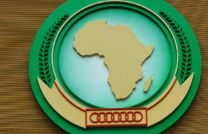 The African Union Commision's logo at its headquarters in Addis Ababa. (AFP)