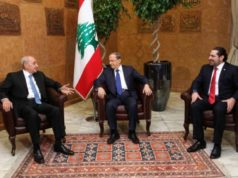 Lebanon's President Michel Aoun (C) meets with Prime minister-designate Saad al-Hariri (R) and Parliament Speaker Nabih Berri at the presidential palace in Baabda, Lebanon December 18, 2016.