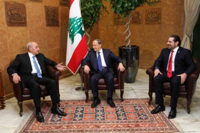 Lebanon's President Michel Aoun (C) meets with Prime minister-designate Saad al-Hariri (R) and Parliament Speaker Nabih Berri at the presidential palace in Baabda, Lebanon December 18, 2016.