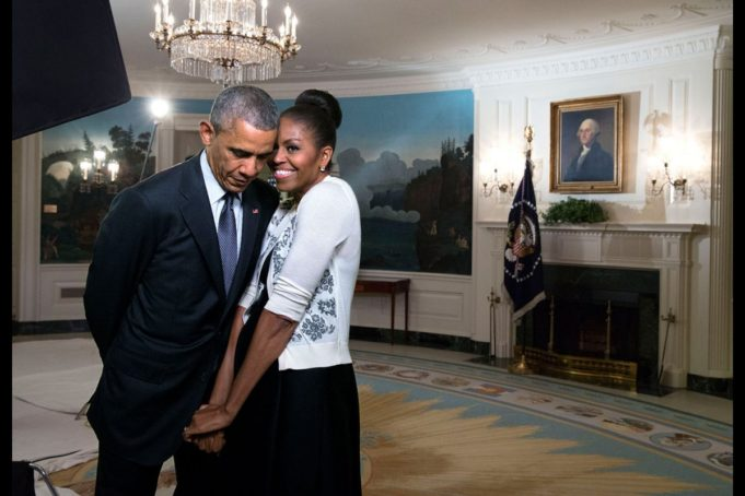 The Obamas react. First lady and Barack Obama