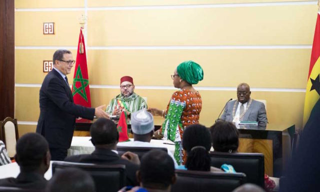 King Mohammed VI and president of the Republic of Ghana Nana Akufo-Addo chaired