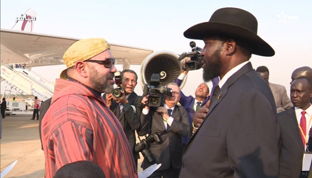 King Mohammed VI, accompanied by the South Sudanese President Salva Kiir Mayardit