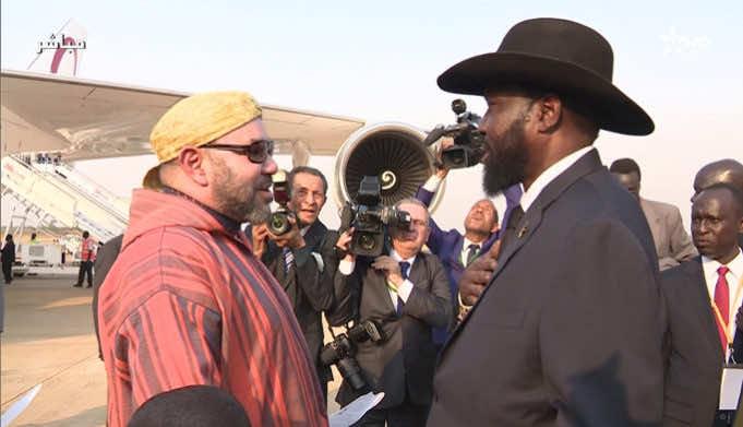 King Mohammed VI, accompanied by the South Sudanese President Salva Kiir Mayardit